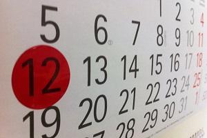 Terminkalender mit eingekreistem Datum